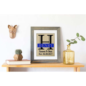 New for 2018 - Police Anniversary, Police Wedding, Engagement Present and Commemoration Personalized Burlap Gift - Handmade - Personalized