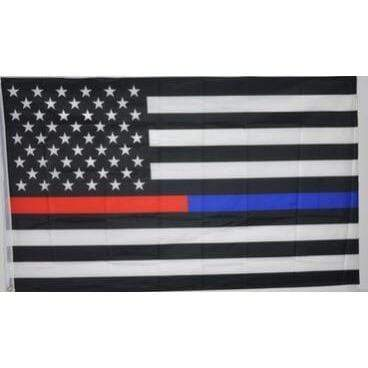 Image of Thin Blue Line Flag, USA and Red Line
