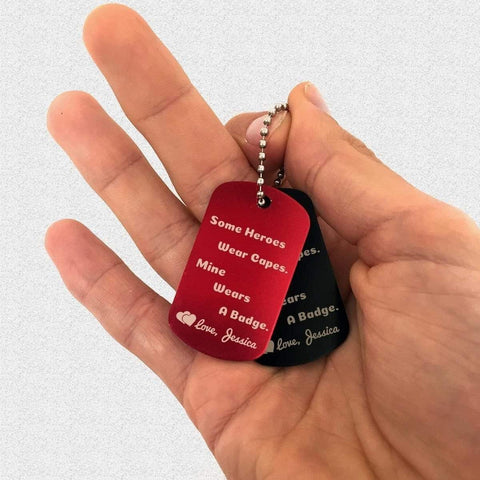 Some Heroes Wear Capes - Dog Tags - YOU PERSONALIZE!