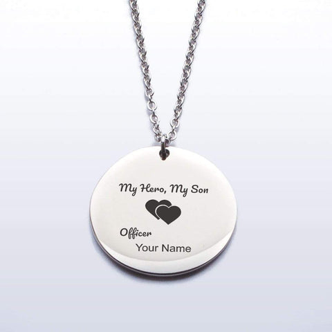 Image of My Hero, My Son - Proud Police Mom Pendant Necklace - YOU PERSONALIZE!