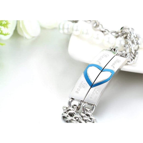 Image of His and Hers Thin Blue Line Real Love Bracelet - Perfect Gift for Blue Line Relationships and Anniversaries