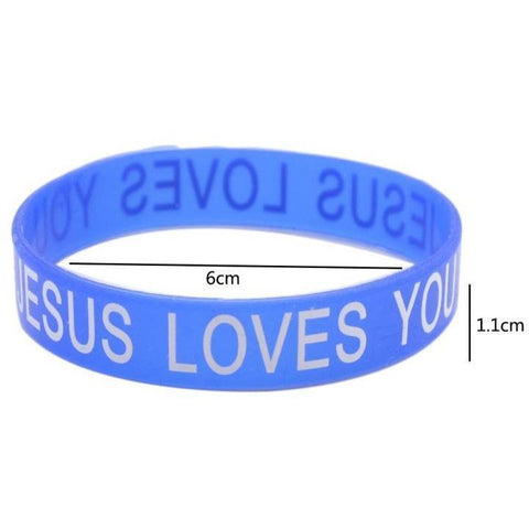 Lychee 10 pieces Jesus Loves You Letter Print Silicone Bracelet Rubber Wristband