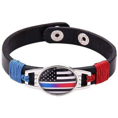 Image of $5 FLASH SALE - Blue Line / Red Line - American Flag Leather Bracelet