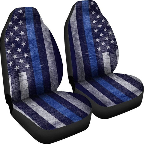 Custom Crafted Car Seat Cover - Thin Blue Line Flag - Back Blue!