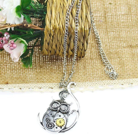 Hot Sale Vintage Classic Steampunk Owl Pendant Necklace - FREE + SHIPPING!