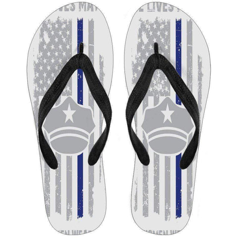 Image of Exclusive - Thin Blue Line Flip Flops! - Mens and Womens