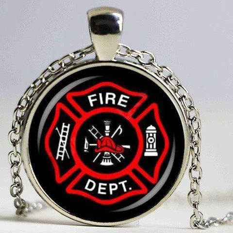 Firefighter Symbol Glass Fashion Pendant Necklace