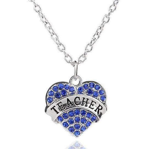 Image of Rhinestones Engraved Teacher Pendant Necklace Fashion Jewelry
