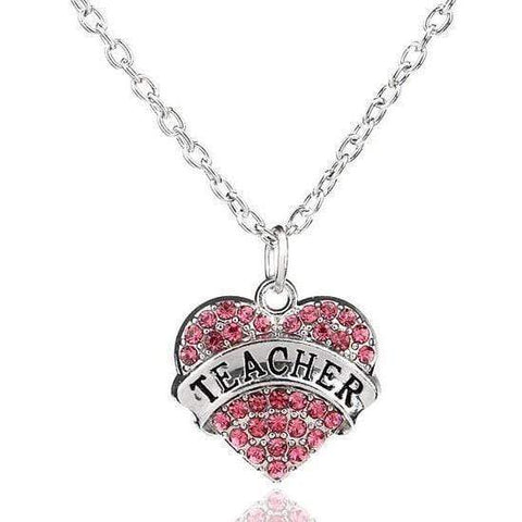Rhinestones Engraved Teacher Pendant Necklace Fashion Jewelry