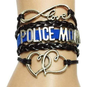 Proud Police Mom Blue Line Infinity Bracelet - FREE + SHIPPING