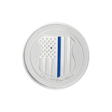 Thin Blue Line Engraved Challenge Coin - 1 Oz. Pure Silver