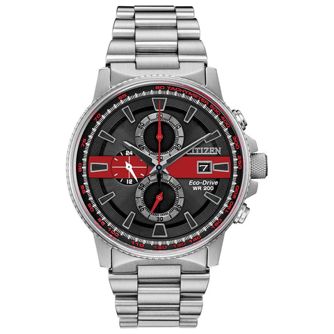 Image of Citizen Men's Thin Red Line Watch Chronograph 200M WR Eco Drive CA0299-57E