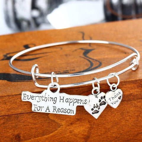 Family Girls Daughter Sisters Dog Tag, Cat Pet Paw Footprint Pendant Charms Bangle Bracelet