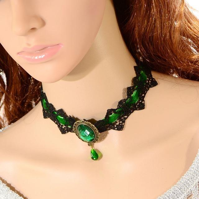 Womens 4 Colors Lace Victorian Steampunk Style Gothic Collar Statement Necklace