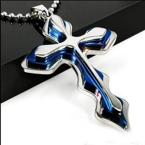 Image of Three Layer Stainless Steel Pendant Cross Necklace Ornaments