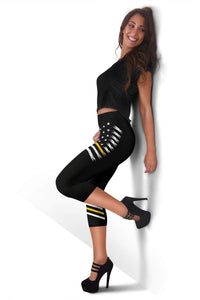 American Flag Capris Leggings - Gold
