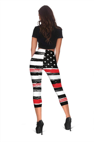 Firefighter Capris Leggings - Alizarin