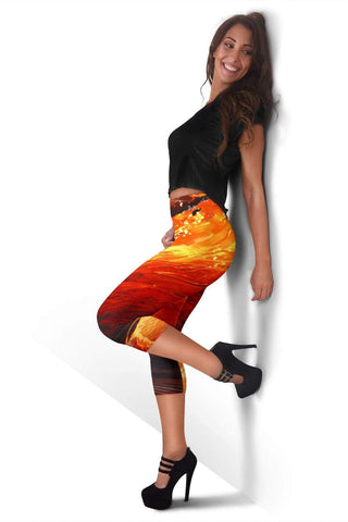 Firefighter Capris Leggings - Laser Lemon