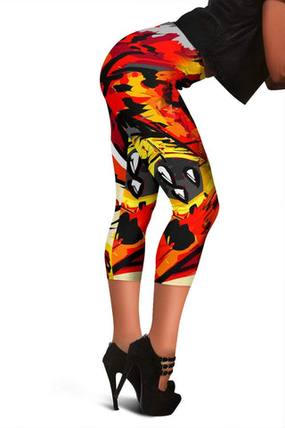 Firefighter Capris Leggings - Orange Red