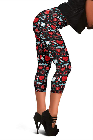 Image of Nurse Capris Leggings - Alizarin
