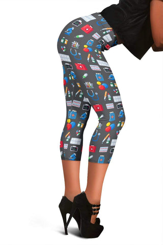Nurse Capris Leggings - Bright Grey