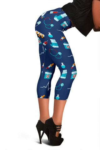 Nurse Capris Leggings - Catalina Blue