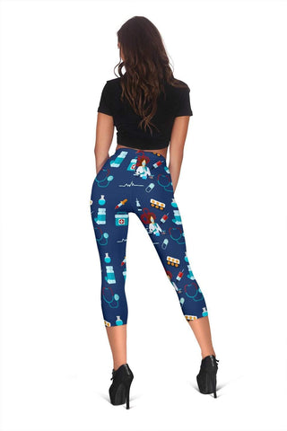 Image of Nurse Capris Leggings - Catalina Blue