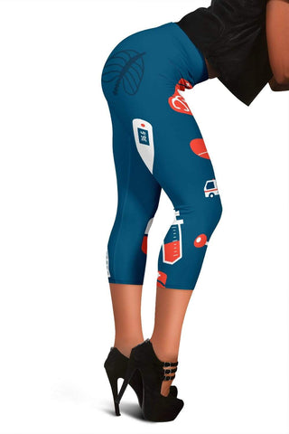 Image of Nurse Capris Leggings - Dark Cerulean