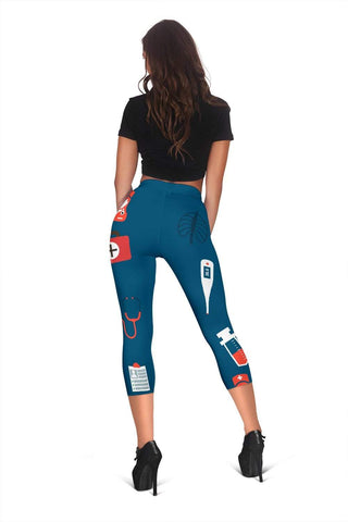 Nurse Capris Leggings - Dark Cerulean