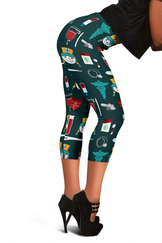 Nurse Capris Leggings - Nordic