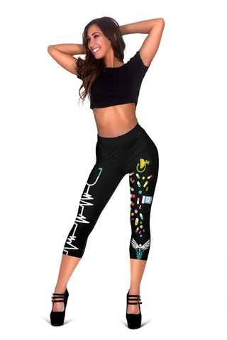 Nurse Capris Leggings - Persian Green