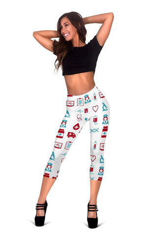 Image of Nurse Capris Leggings - White