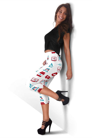 Nurse Capris Leggings - White
