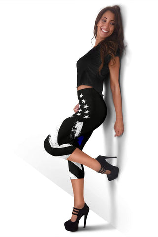 Image of Police Capris Leggings - Black And Blue