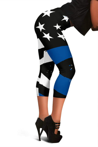 Image of Police Capris Leggings - Black And White
