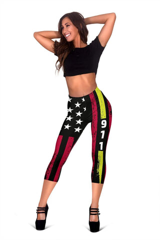 Dispatcher Capris Leggings -  Red & Black