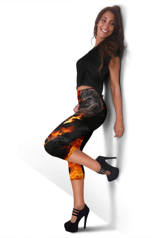 Firefighter Capris Leggings - Mango Tango