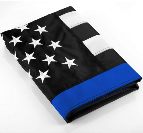 Image of Thin Blue Line Flag - High Quality Embroidered