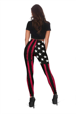 Image of Dispatcher Full Length Leggings - Red & Black