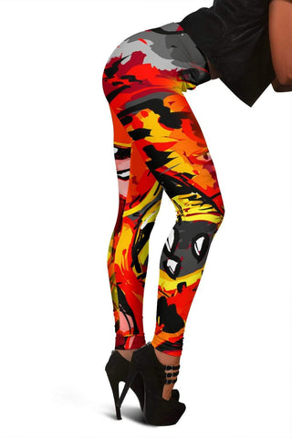 Firefighter Full Length Leggings - Orange Red