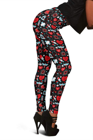 Nurse Full Length Leggings - Alizarin