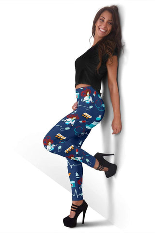 Nurse Full Length Leggings - Catalina Blue