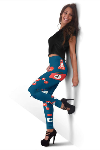 Nurse Full Length Leggings - Dark Cerulean