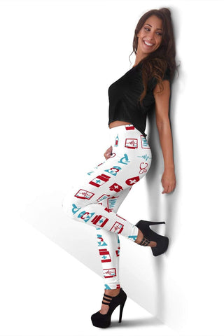 Image of Nurse Full Length Leggings - White
