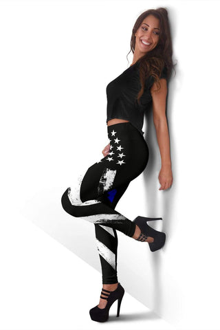 Police Full Length Leggings - Black And Blue