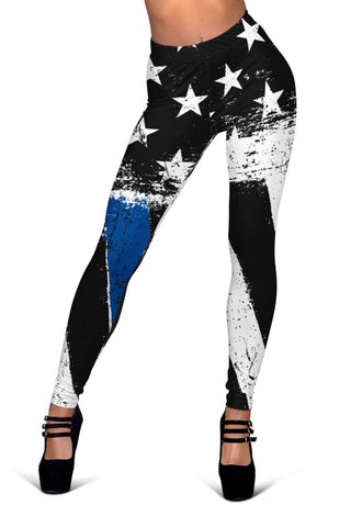 Police Full Length Leggings - Dark Cerulean