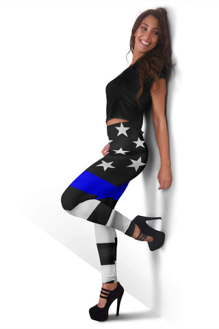 Police Full Length Leggings - Medium Blue