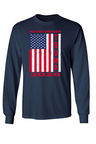 Image of Unisex Trump USA Flag 2020 Long Sleeve Shirt