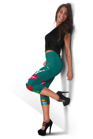 Image of Nurse Capris Leggings - Blue Lagoon