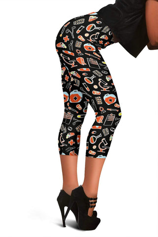 Image of Nurse Capris Leggings - Dark Black